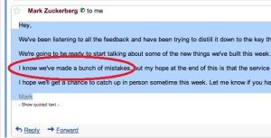 Mail scritta da M. Zuckerberg a R. Scoble